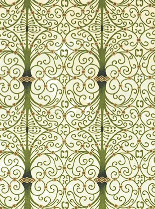 Handmade papír - Zelené spirály