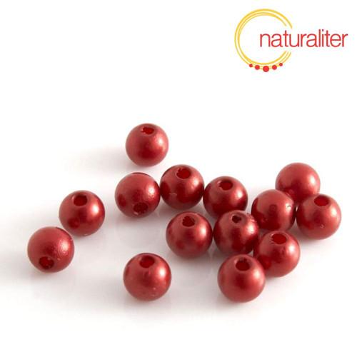 Voskované perly, tmavě červené, 6mm, 50ks