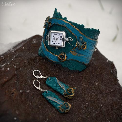 Medené ruže IV. - sada hodinek a náušnic