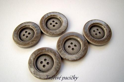 Knoflík šedý, melír 4 dirky - 5ks