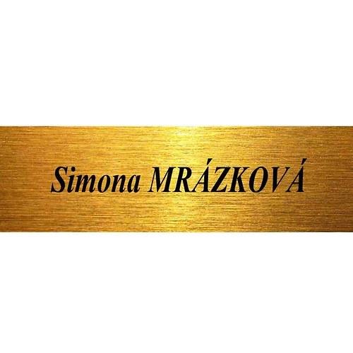 Jmenovka na dveře, schránku matně zlatá 10x3cm