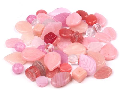 Korálky skleněné MIX růžový - 50g