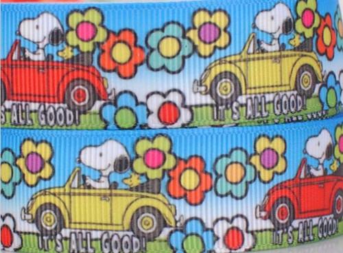 Rypsová stuha šíře 22 mm Snoopy