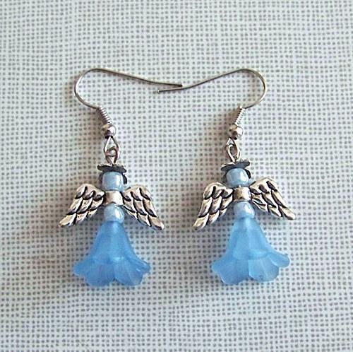 Náušnice andělíček ant.stříbro , modrý/ 2ks