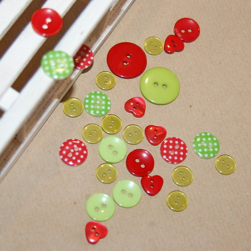 Zeleno - červená vánoční sada II, 24 kusů