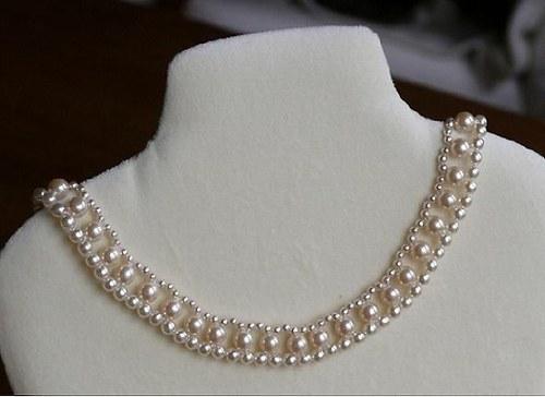 perlový náhrdelník - krémový