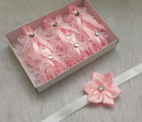 Svatební sada vývazky růžová a bílá