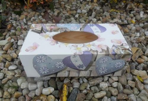Krabička na kapesníky levandulová srdce