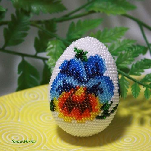 Háčkované vajíčko 6cm VZOR - Maceška