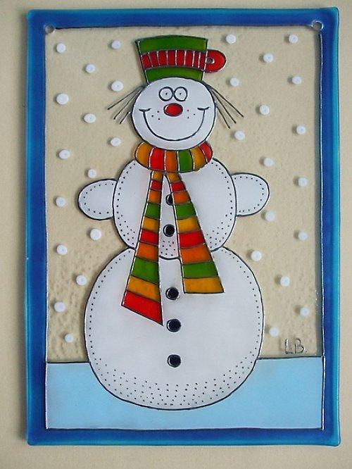 Vánoční závěsné sklíčko do okna - sněhulák