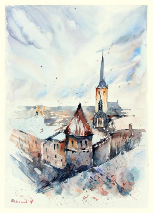 Evropske mesto, originalni obraz A3