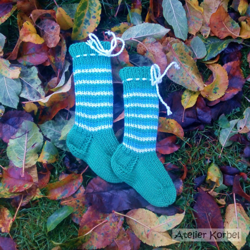 Zelené ponožkonávleky, merino, 11,5 cm