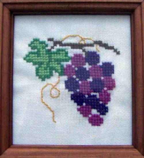 Vyšívaný obrázek - hroznové víno