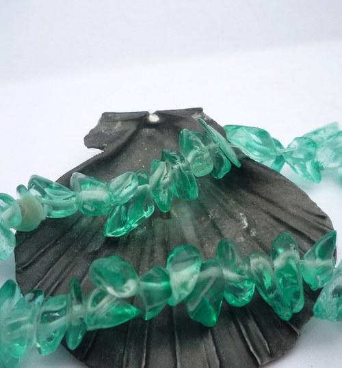 skleněné zlomky 10 g, tyrkys- tmavý