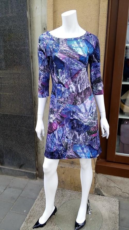 Šaty fialový vzor vel. M/L