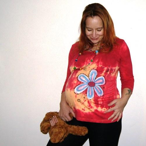 Malované triko těhotenské s kytičkou