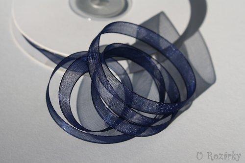 Stuha šifónová tm.modrá, šířka 6 mm - cena za 3m!
