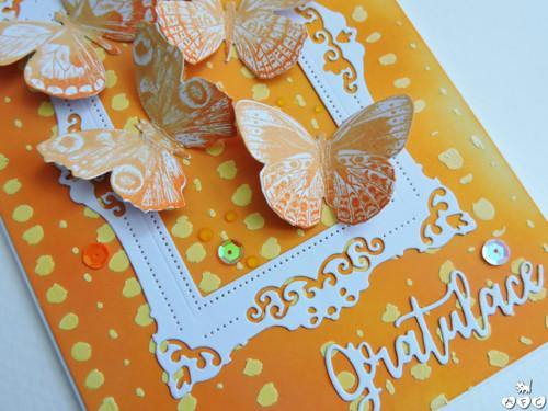 """Tón v tónu - oranžové \""""ombré\"""" přání s 3D motýlky"""