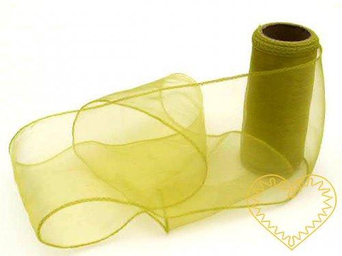 organza zelený hrášek š=12 cm