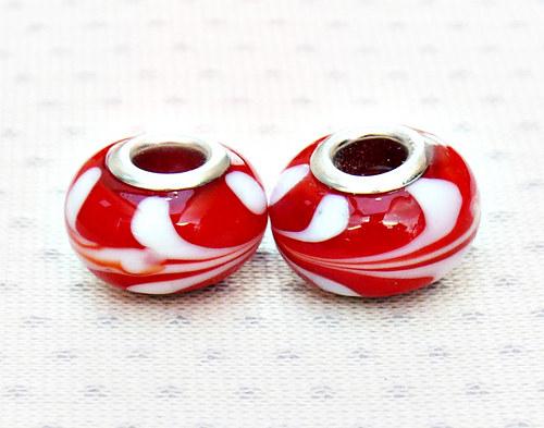 """Skleněné korálky - vinutky \""""červené\"""" 2 ks"""