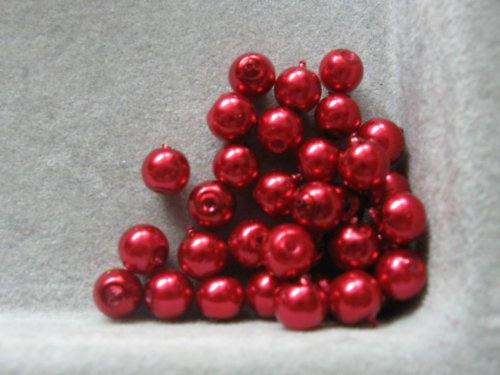 Vosková perla - červená 5 mm / 20 ks