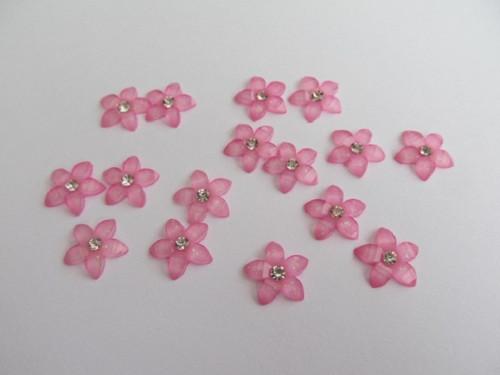 Kytička růžová - kabošon - 12mm - 15 ks/balení