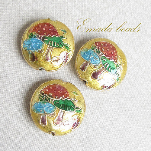 Cloisonne houbičky písková, 1,7 cm