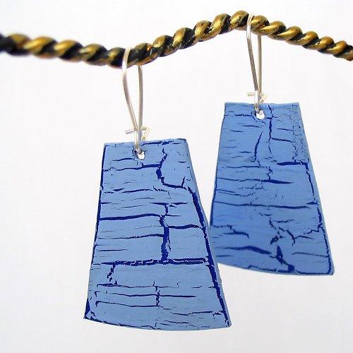 Modré recyklované náušnice