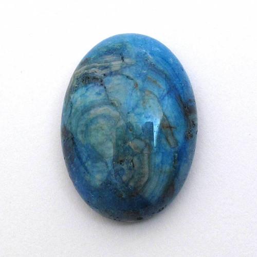 Kabošon modrý krajkový achát ovál 25mm