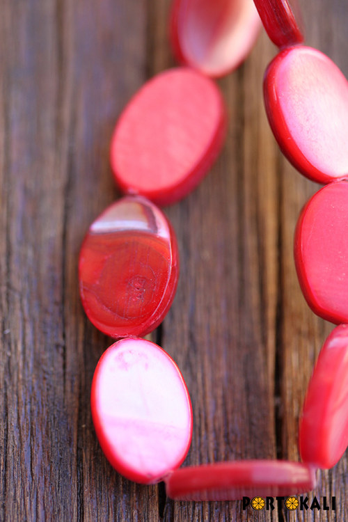 Perleťové oválky červené 5 ks