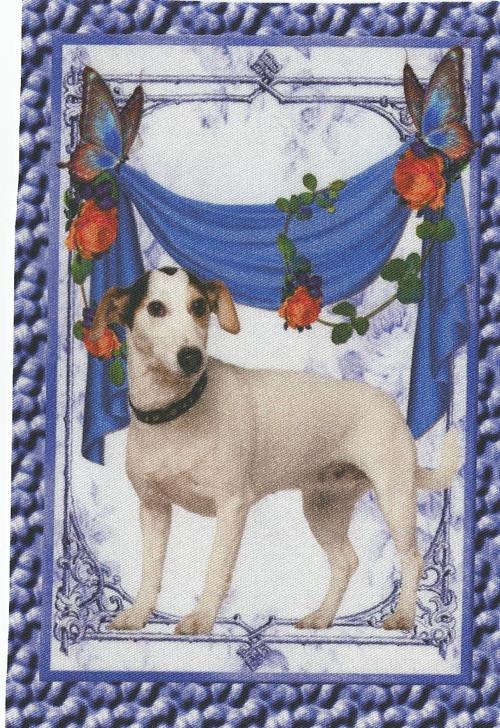 bavlněná látka - panel  9,5 x 14,5 cm