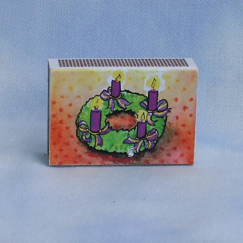 Obrázkové zápalky - adventní věnec fialový ZB10