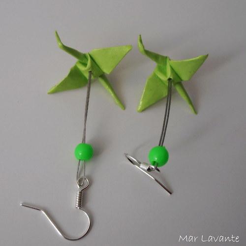 Origami náušnice papíroví ptáčci neonově zelená