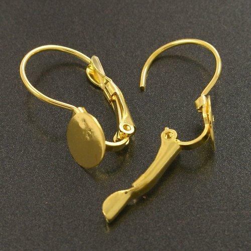 Háčky na náušnice s lůžkem zlaté 1 pár