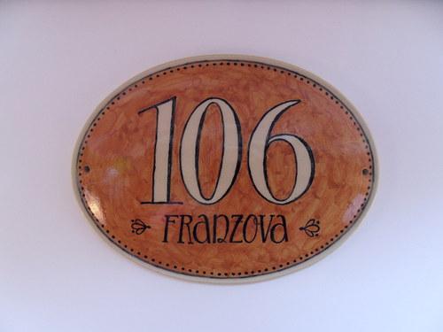 Domovní číslo na zakázku - ovál na okru