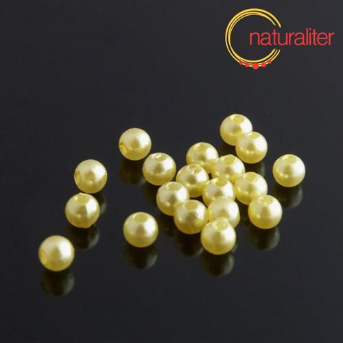 Voskované perly, žluté, 4mm, 100ks