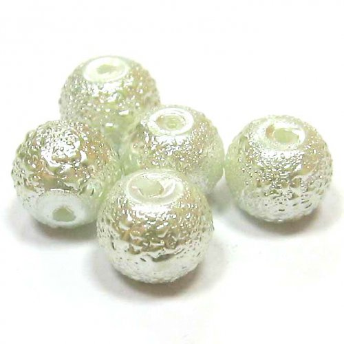 Zvrásněné perly 8 mm - bílá - 5 ks