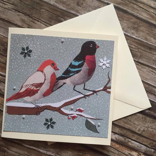 Zimní přání s ptáčky