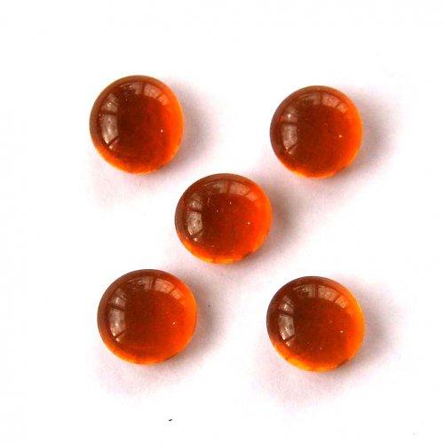 Skleněné Čočky 1cm - 5ks - Oranžové