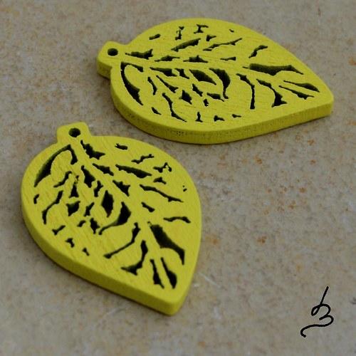 Dřevěný list žlutý - 4 ks