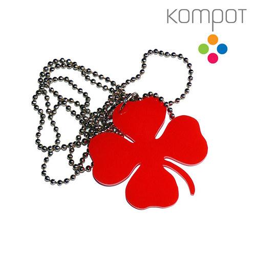 ČTYŘLÍSTEK, náhrdelník :: červený