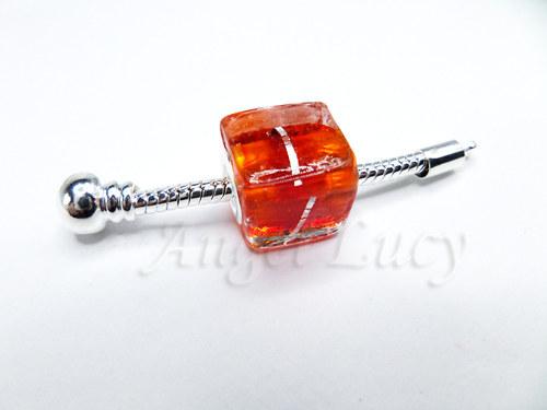 """Lampwork -\""""čtvereček s fólií oranžčervená\"""" (10347)"""