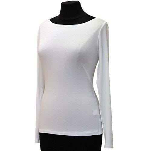 Bílé tričko belaroma dlouhý rukáv, lodičkový výstř