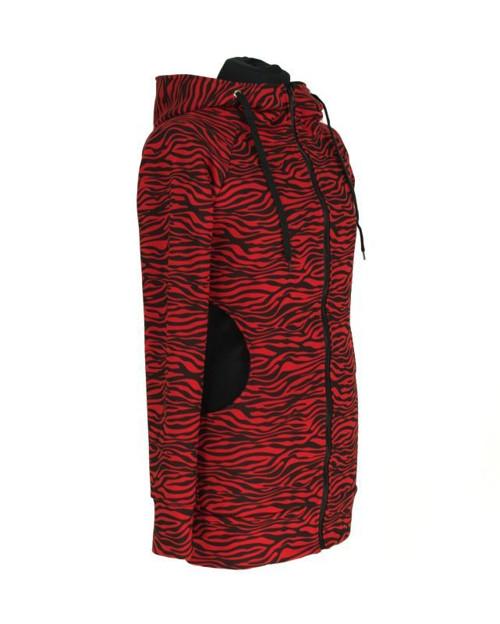 Prodloužená mikina - červená zebra