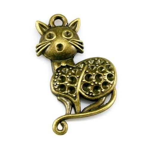 Přívěsek - velká kočka s mašlí, bronzová