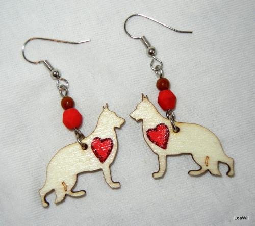 Naušnice pes německý ovčák srdce červené
