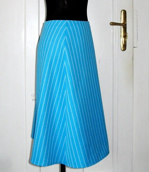 SLEVA 50% - Vlněná sukně A - tyrkys