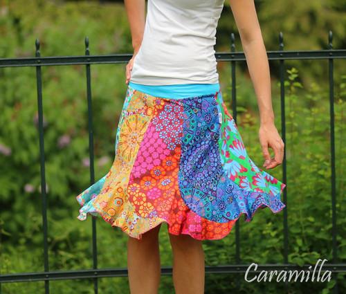 Patchworková sukně VLNA multicolor (i těhu)