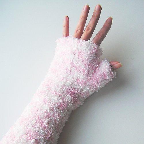 Rukavice - bezprsťáky růžovobílé