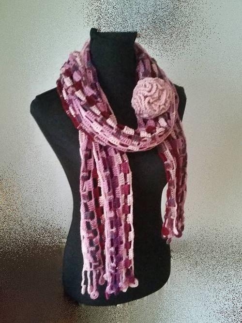 Růžovo-fialová šála